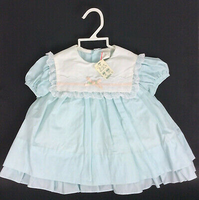 Iveys Vintage 70s Baby Girls Dress 24 Mos Pale Mint Green Lace Yoke New - Girls 70s Clothes
