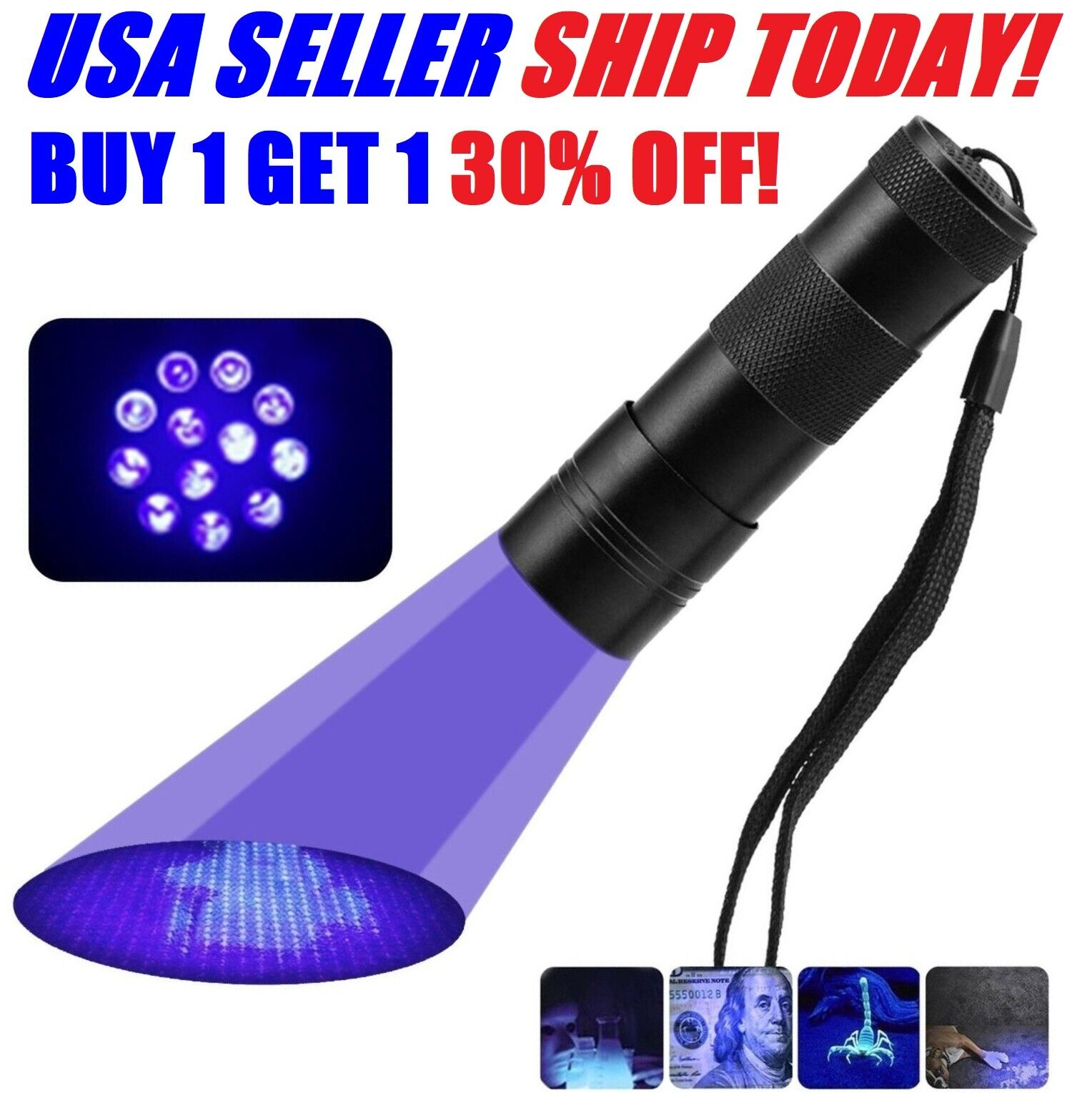 UV Flashlight Black Light Flashlight Ultraviolet LED Pet Urine Stains Detector Camping & Hiking