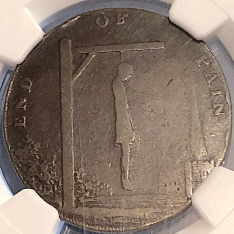 Great Britain 1793 1/2 Penny The Wrongs Of Man Thomas Paine Hanging NGC 8.6g
