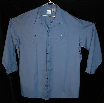 Aramark Uniform Mens Blue Snap Front Shirt 6Xll 6Xl Vinex Hrc1 Flame Resist