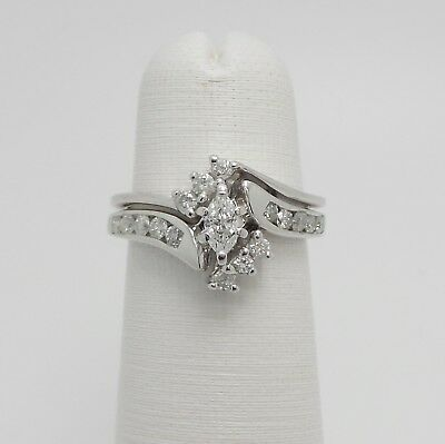 Zales 1/2CT Marquise Cut Diamond Engagement Wedding Ring Set 14K White Gold 1/2 Ct Marquise Cut Ring