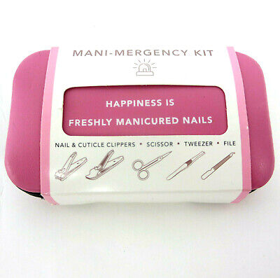 Trim Nail Mani Emergency Grooming Kit Pink Nail Clippers Scissor Tweezer File (Grooming Kit Tweezer)