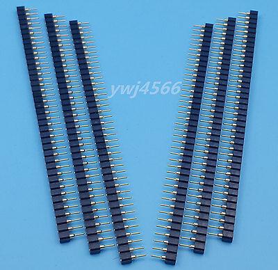 10pcs 40pin 2.54mm Single Row Round Female Pin Header Socket Gold Plated