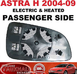 VAUXHALL-ASTRA-H-MK5-ELECTRIC-HEATED-DOOR-WING-MIRROR-GLASS-LH-PASSENGER-SIDE