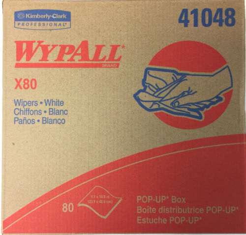 Wypall X80 Wipers, Pop Up Box, White, 41048, 5/Case