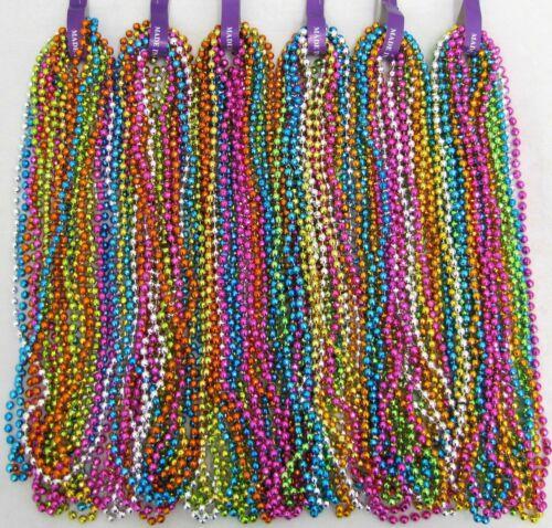 "Mardi Gras Beads Neon Assorted Disco 6 Dozen 33"" Parade School 72 Necklaces"