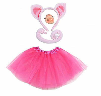 PIG Fancy Dress Halloween Costume TUTU EARS TAIL NOSE Accessory Set (Halloween Pig Ears)