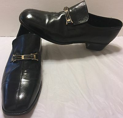 VTG Florsheim Imperial Design Bit Loafer Black Slip On Shoes Sz 10 C Split Dress