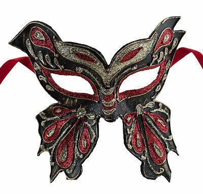 Mask from Venice Butterfly Farfella Black Silver Red Glitter Paper Mache 22530
