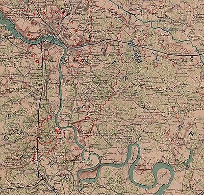 Large Original Antique Civil War Map RICHMOND DEFENSES Virginia VA Petersburg