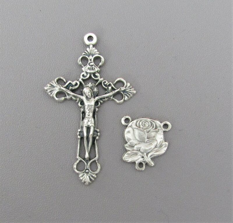 ROSE Rosary CENTER & CRUCIFIX Set ~ Centerpiece Lady of FATIMA ITALY Parts