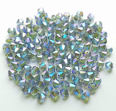 24 Swarovski 5301 4mm Indian Sapphire AB2X Bicone Crystal Beads
