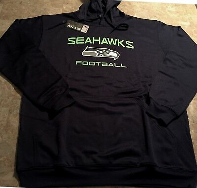 Seattle Seahawks Hoodie XL Tall Therma Base Seahawks Football Theme Navy NFL