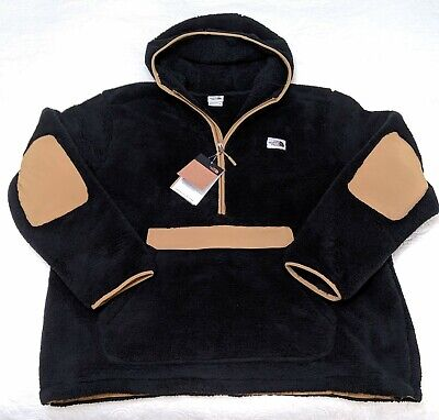 MEN'S NWT NORTH FACE CAMPSHIRE PULLOVER SHERPA FLEECE HOODIE BLACK KHAKI 2XL
