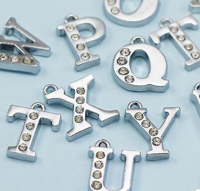 Große Silber Tone Straßstein Kristall Alphabet Brief Amulett Anhänger ()
