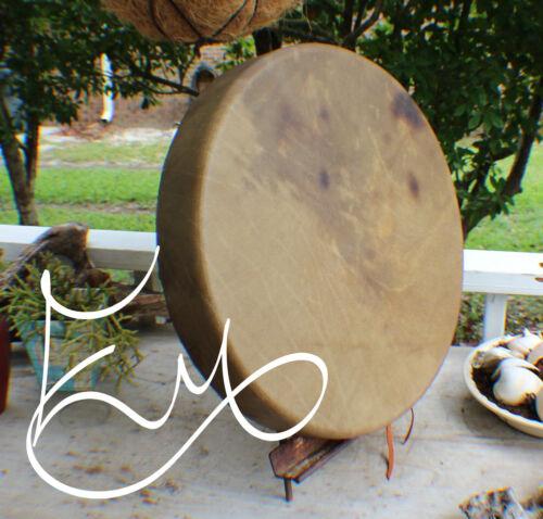 "18"" Native American Buffalo hand Drum Cherokee made William Lattie Cert of Auth"