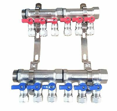 1 6-loopport Ball Valve Brass Pex Manifold For 12 Pex Tubing W Brackets