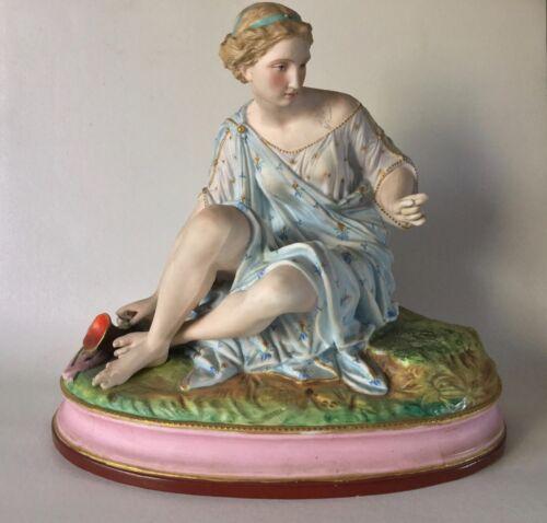 "Large Antique Letu & Mauger (L&M) French Biscuit Porcelain Lady Figurine 11.5"""