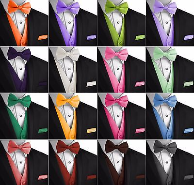 Men's Solid Satin Tuxedo Vest, Bow-Tie & Hankie Set. Formal Casual Wedding Prom - Vest Bow Tie