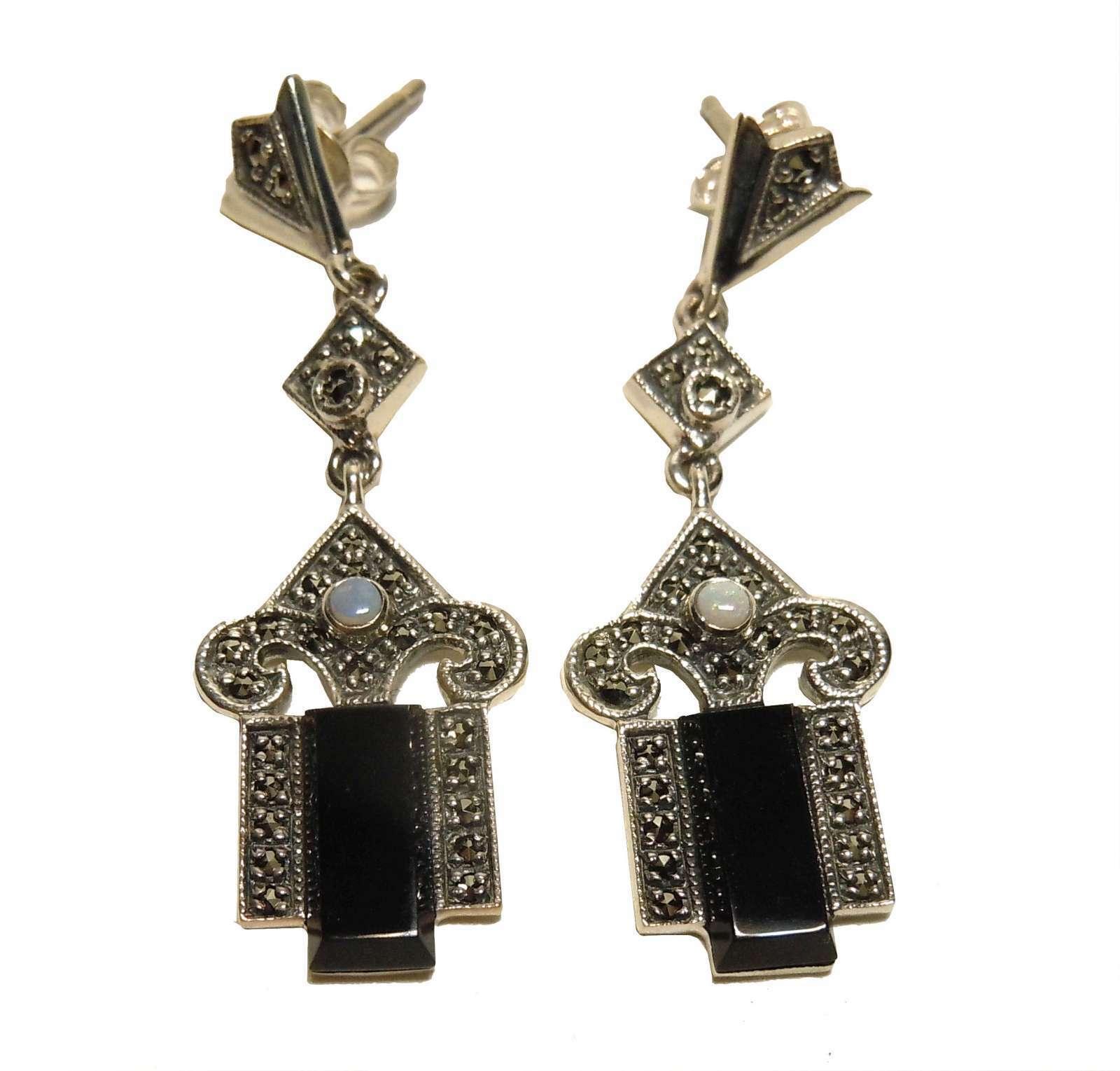 Noblesse Art Deco Hänge Ohrringe mit Onyx, Opalen und Markasiten