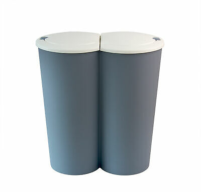 Duo Mülleimer 50L Doppel Abfalleimer Papierkorb Mülltrenner Müllsammler 2x25L
