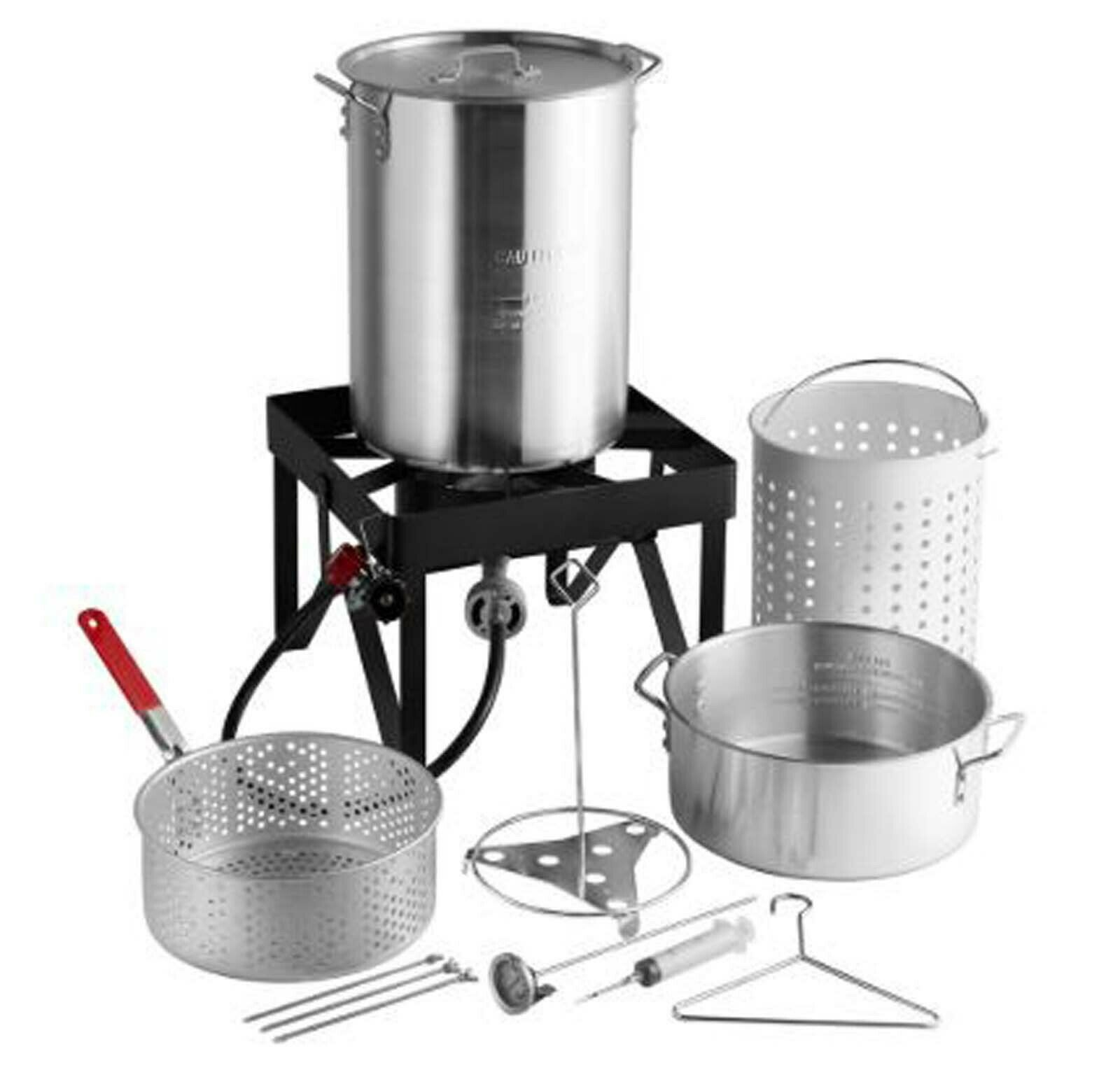 30 Qt Deluxe Aluminum Turkey Deep Fryer Kit Steamer Stock Po