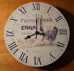 FARM FRESH EGGS CLOCK Country Farm Rustic Chicken Hen Rooster Kitchen Decor NEW