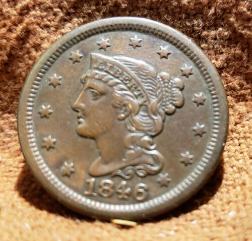 1846 US American Braided Uncirculated Hair Large Cent