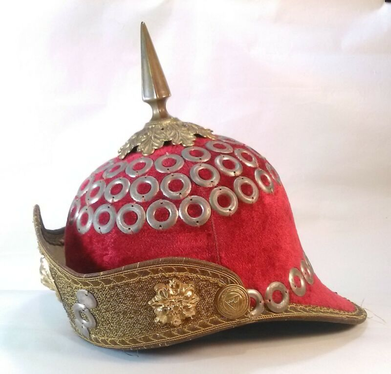 Knights of Pythias Spiked Helmet Red Velvet w/Rings and Lion Early 20th Century