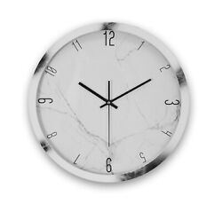 Marble Clock, Round Wall Clock Marble Pattern Battery Powered Black & White