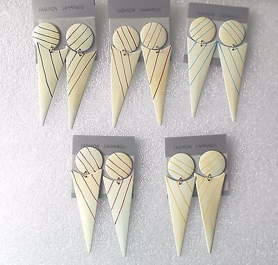 Vintage Inverted Triangle Long Dangly Earrings - -