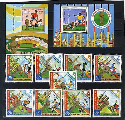 EQUATORIAL GUINEA 1974 SOCCER WORLD CUP MUNICH SET OF 9 STAMPS & 2 S/S MNH