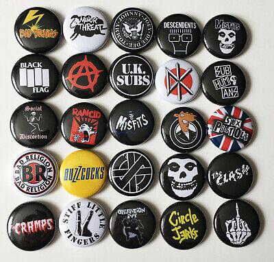 "25 1"" Punk Button Pin Set misfits crass cramps buzzcocks clash dead kennedys"