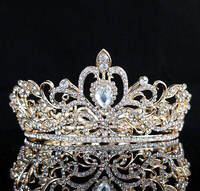 Loyal Clear Austrian Crystal Rhinestone Hair Crown Bridal Prom Wedding Gold T18g
