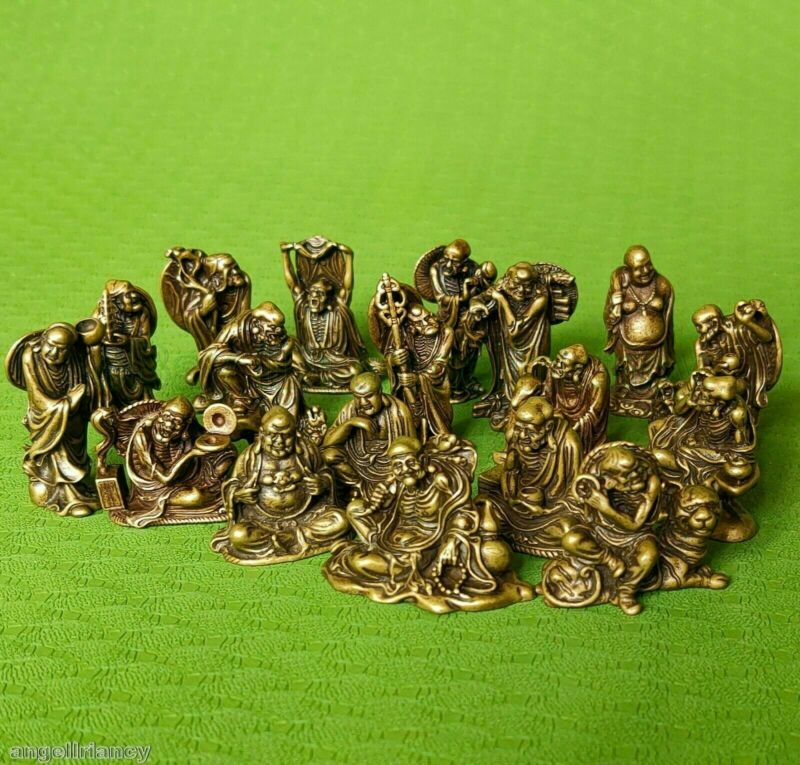 Old Different forms Folk Classic Bronze Statue 18 Arhats Luohan buddha Statues