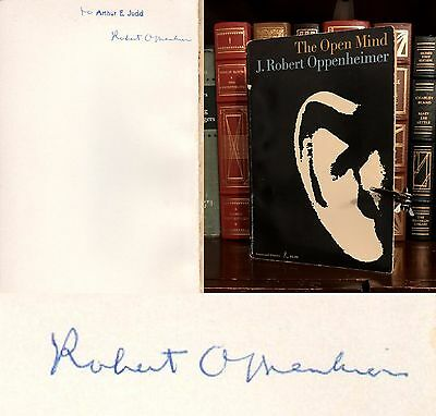 The Open Mind Hand Signed By J  Robert Oppenheimer  Manhattan Project  Very Rare