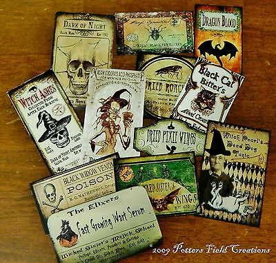12 Halloween Vintage prim Witch Apothecary potion bottle Label stickers Series 4 - Witch Potion