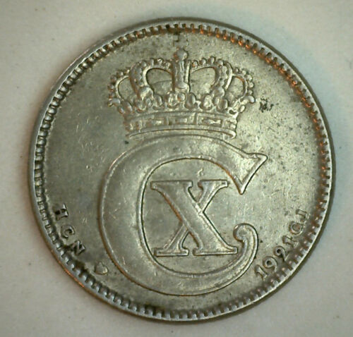 1921 Denmark 25 Ore Coin Currency XF