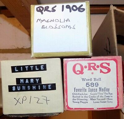 3 QRS Pianola Rolls Long selection rolls Magnolia Blossoms Favourite Dances