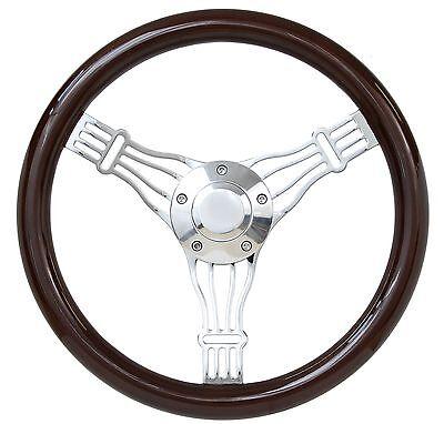 "Marine Boat 14"" Real Dark Mahogany Banjo Steering Wheel Set"
