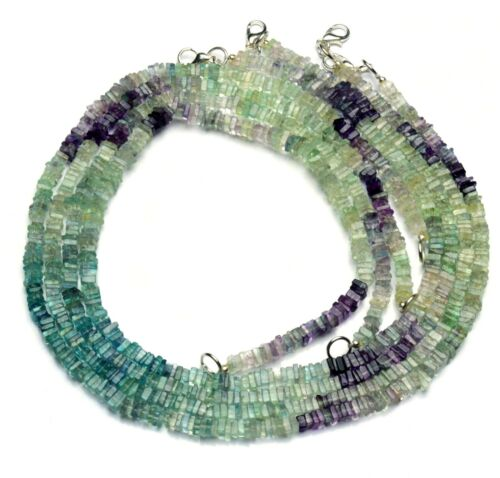 Natural Gemstone Rainbow Fluorite 4MM Smooth Square Heishi Beads Necklace 17""