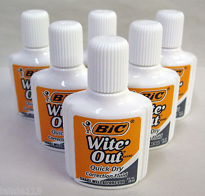Lot Of 6 Bic Wite-out Quick Dry Correction Fluid White Foam Brush .7 Oz Each