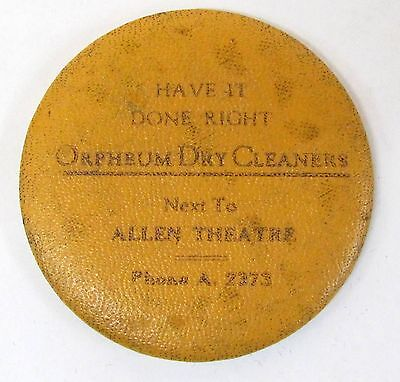 1920's or 30's ORPHEUM DRY CLEANERS advertising pocket mirror