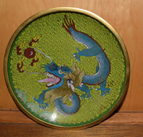 vintage cloisonne DRAGON 6 inch plate dish, amazing colors FREE SHIPPING  s2