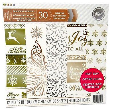 Craft Smith Christmas Metallics Paper Pad 30 Sheets 12