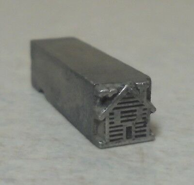 Vintage Small House Letterpress Printing Block Metal