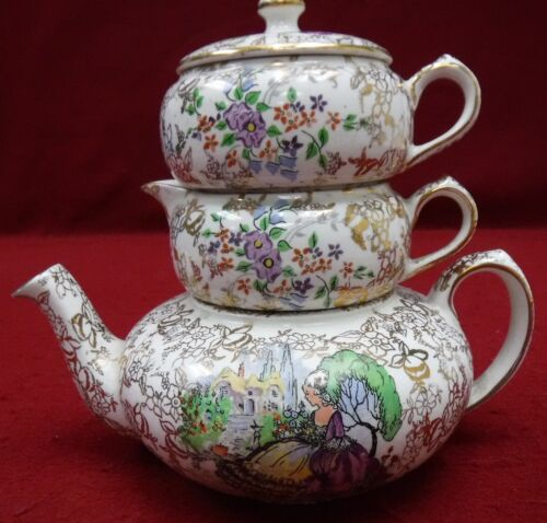 LORD NELSON china POMPADOUR pattern 4pc Stacking Mini Teapot Set  creamer/sugar