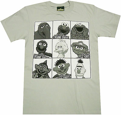 Official Sesame Street Group Mug Shot Adult T-Shirt -Elmo Ernie Oscar The - Sesame Street Adult
