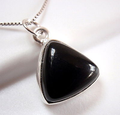Black Onyx Triangle 925 Sterling Silver Pendant Pyramid New
