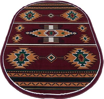 Arizona Southwestern Lodge Woven 5x7 Area Rug Burgundy Actual Size 5'2 x 7'2 -